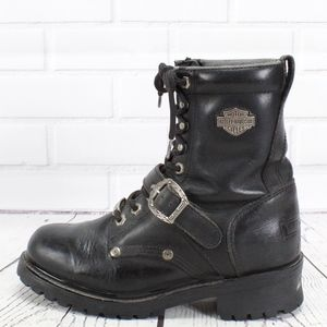 Harley-Davidson Black Leather High Ankle Boots 9